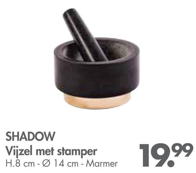 SHADOW Vijzel met stamper H.8 cm - Ø 14 cm - Marmer