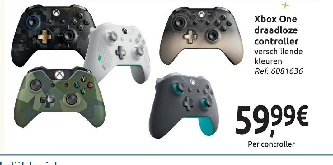 + Xbox One draadloze controller verschillende kleuren Ref. 6081636 59,99€ Per controller