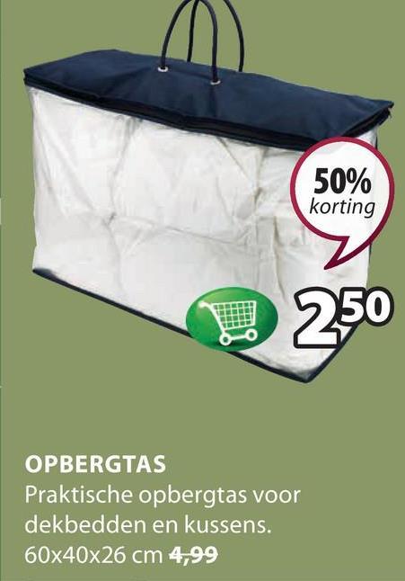 50% korting U 250 OPBERGTAS Praktische opbergtas voor dekbedden en kussens. 60x40x26 cm 4,99