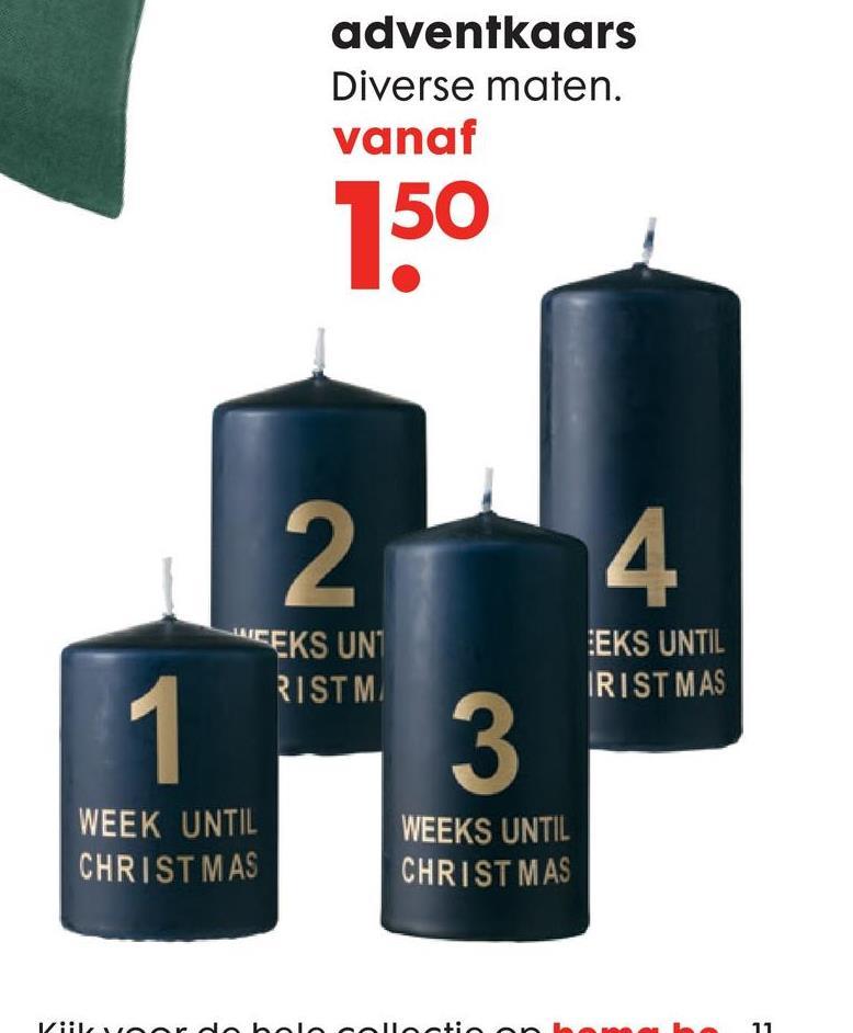 HEMA Advenetskaars Aftellen tot kerst met deze donkerblauwe adventskaars! De kaars heeft op de voorkant de goudkleurige tekstprint '3 weeks until christmas'.