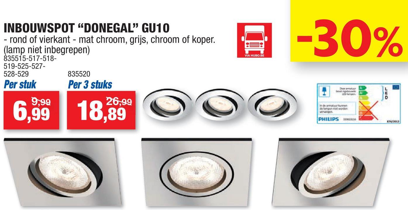 set led inbouwspots donegal nikkel 55w gu10 rond 3 stuks de philips donegal led hubo