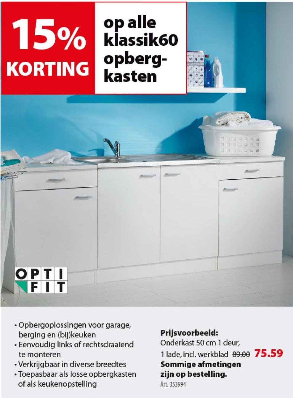 Optifit Klassik60 onderkast met 1 deur en 1 lade 84,5x50x60 cm met wer -