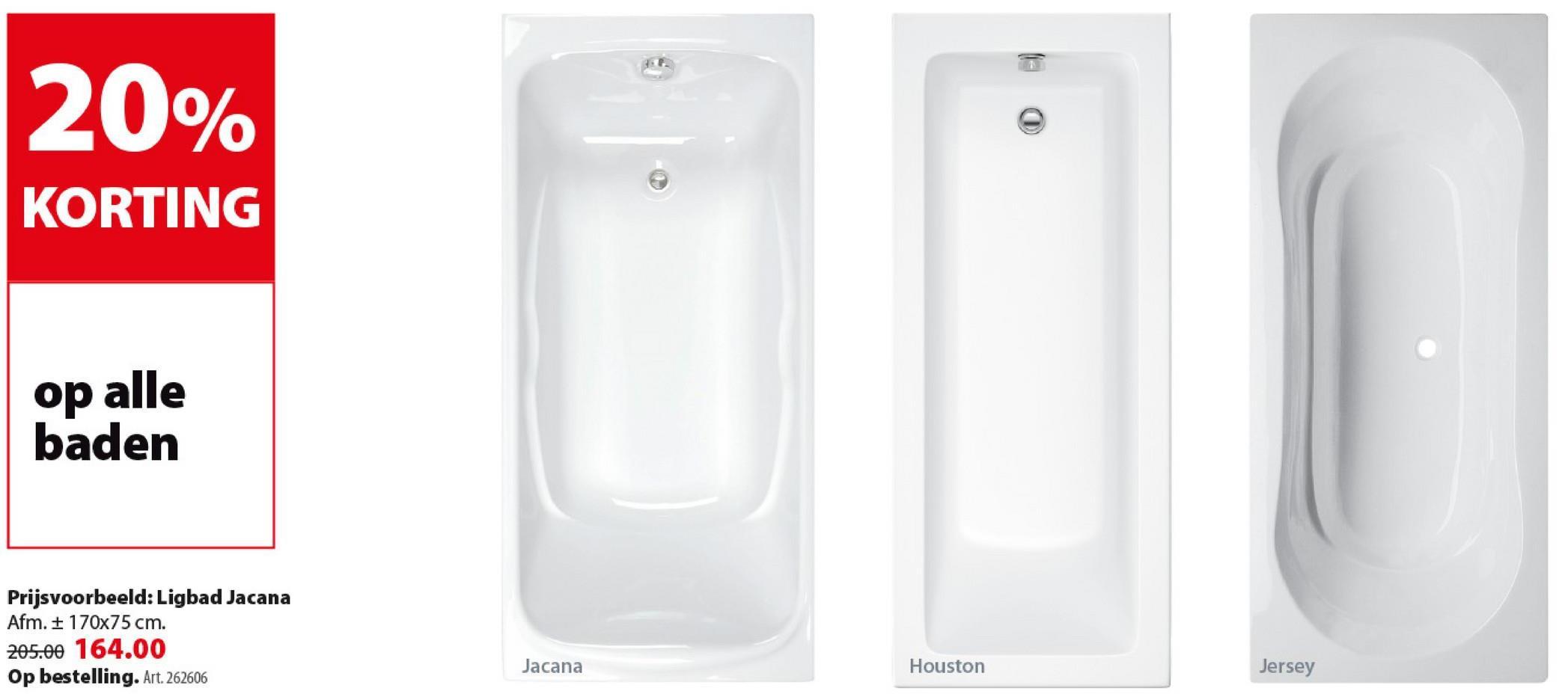 Allibert Jacana ligbad ca. 170x75 cm toplax wit Je bent op zoek naar een bad met een hoge duurzaamheid? Kies voor een bad gemaakt uit toplax: acryl met een stevige toplaag van ABS. Maak je keuze uit verschillende modellen, zoals dit Jacana ligbad van 170 cm lang en 75 cm breed.