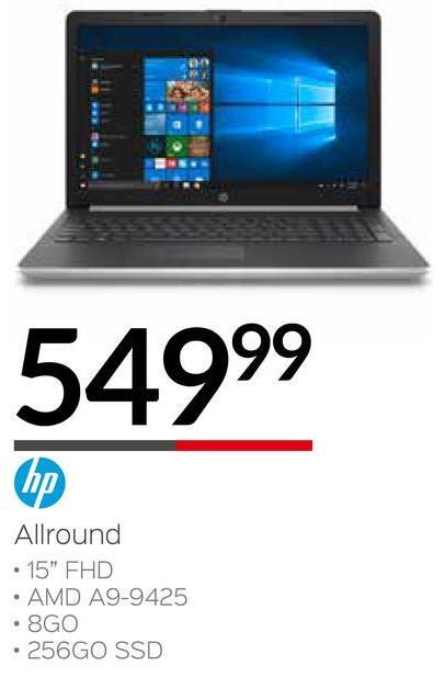 """54999 Allround • 15"""" FHD • AMD A9-9425 • 8GO • 256GO SSD"""