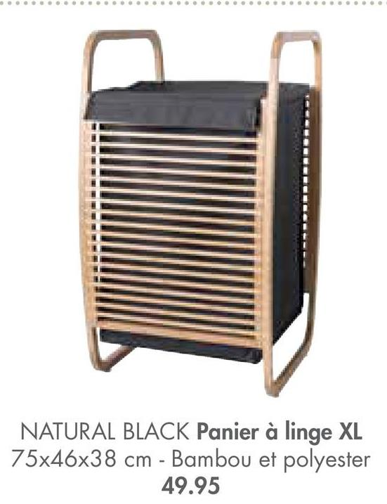 NATURAL BLACK Panier à linge XL 75x46x38 cm - Bambou et polyester 49.95