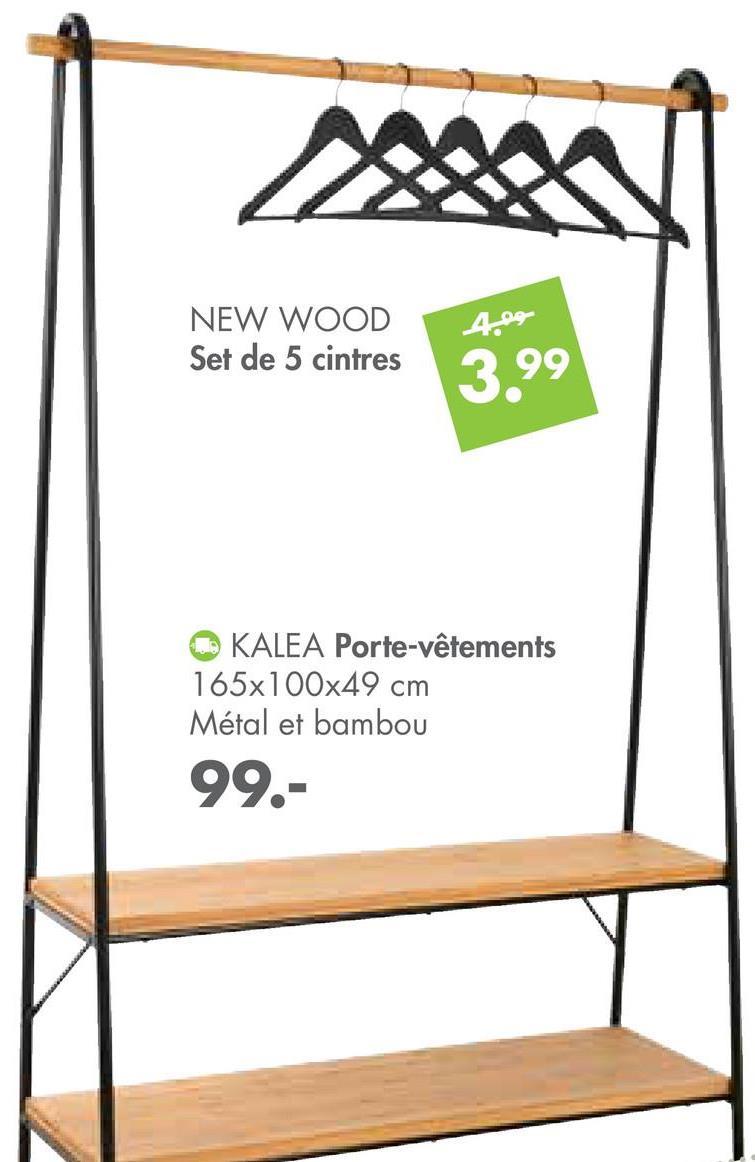 NEW WOOD Set de 5 cintres 3.99 KALEA Porte-vêtements 165x100x49 cm Métal et bambou 99.-