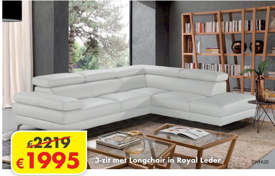 Salon Hudson 3-zit met longchair   Leder Royal Grigio Blanco 1025