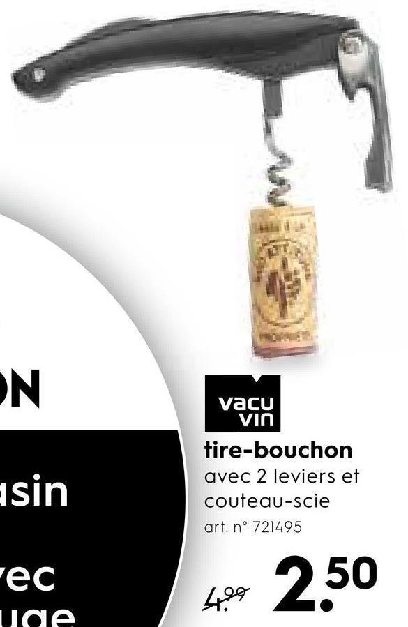 Vacu VIN asin tire-bouchon avec 2 leviers et couteau-scie art, nº 721495 rec uae 494 2,50