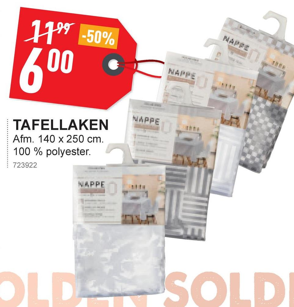 1999 -50% 600 MARA TAFELLAKEN Afm. 140 x 250 cm. 100 % polyester. 723922 VLPPE OLDUSOLDI