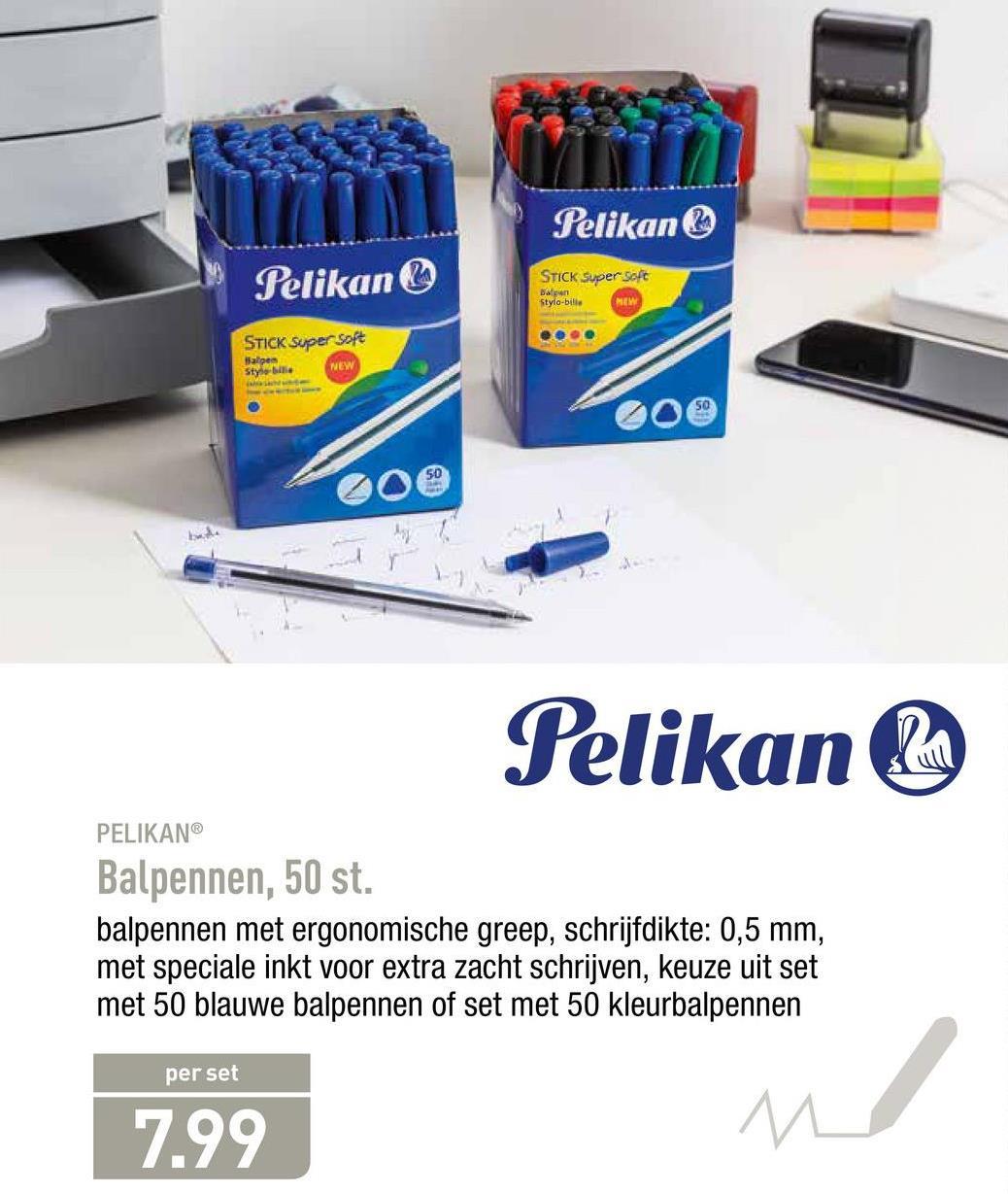 Pelikan Pelikan STICK Super Soft Stylo-bille STICK Super Soft Wape Style NEW coe Pelikan PELIKAN® Balpennen, 50 st. balpennen met ergonomische greep, schrijfdikte: 0,5 mm, met speciale inkt voor extra zacht schrijven, keuze uit set met 50 blauwe balpennen of set met 50 kleurbalpennen per set 7.99