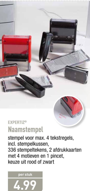 EXPERTIZ® Naamstempel stempel voor max. 4 tekstregels, incl. stempelkussen, 336 stempeltekens, 2 afdrukkaarten met 4 motieven en 1 pincet, keuze uit rood of zwart per stuk 4.99