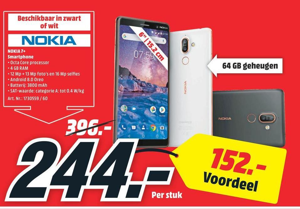 NOKIA 7 plus Smartphone Wit (11B2NW01A05) NOKIA 7 plus Smartphone Wit (11B2NW01A05)