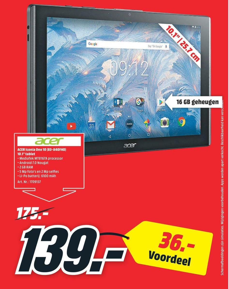 ACER Tablet Iconia One 10 B3-A40FHD-K7S6 32 GB Wit (NT.LE2EE.004) ACER Tablet Iconia One 10 B3-A40FHD-K7S6 32 GB Wit (NT.LE2EE.004)