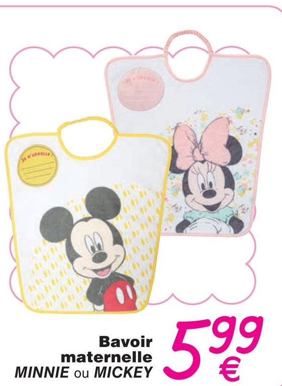 mwembad 599 Bavoir maternelle MINNIE ou MICKEY