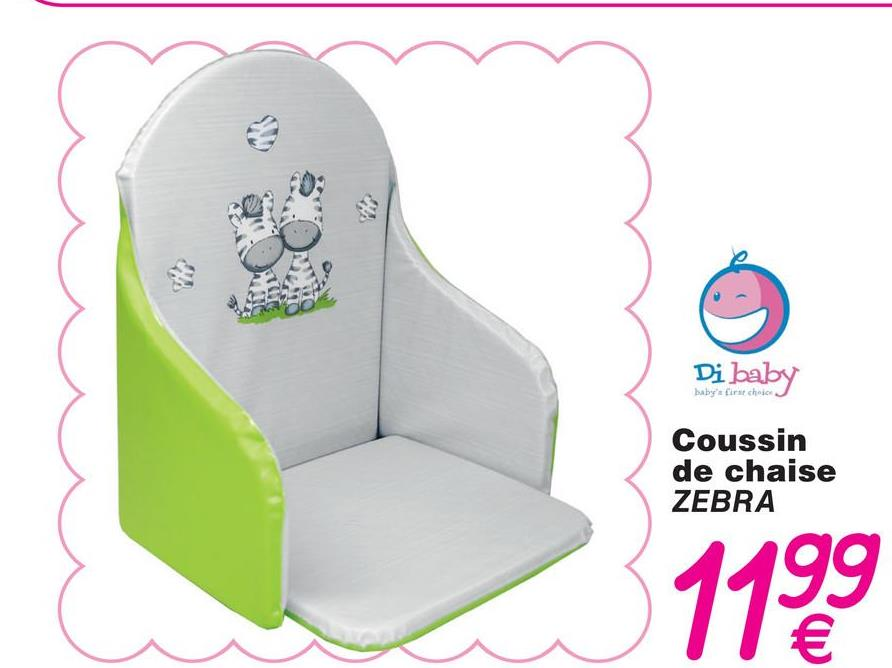 Di baby baby's first choice Coussin de chaise ZEBRA 1199