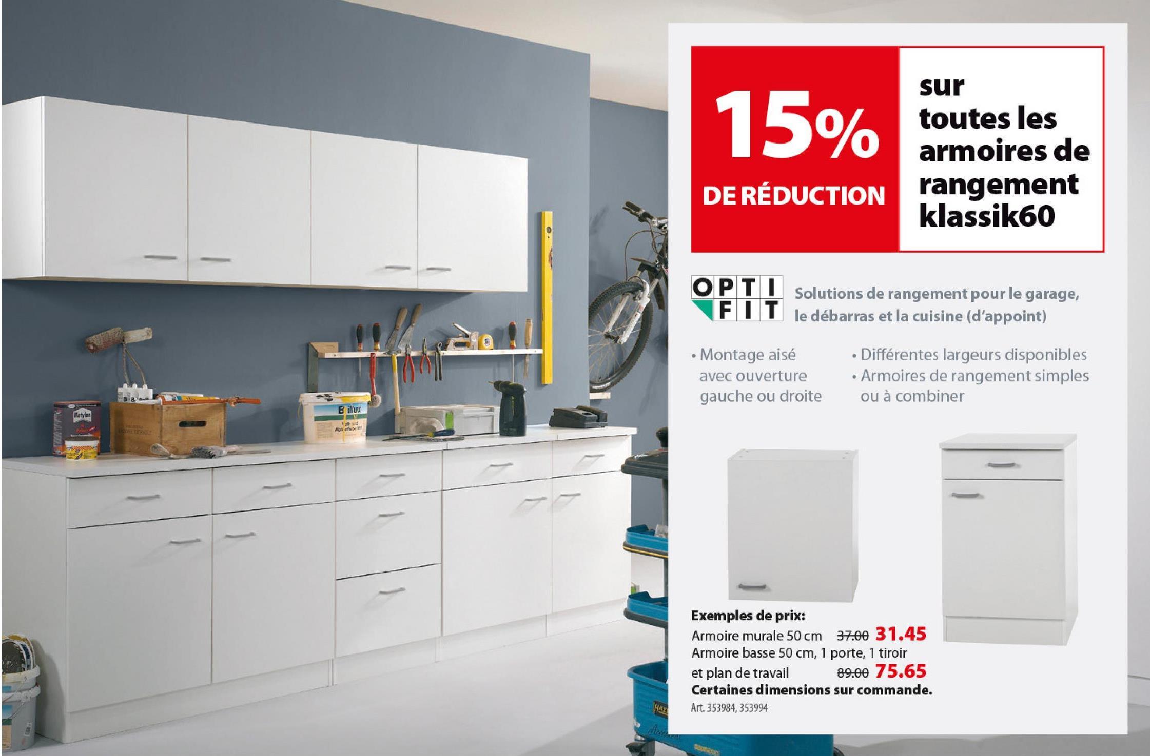 Élément mural haut 1 porte Optifit Klassik60 57,6x50x34,6 cm -