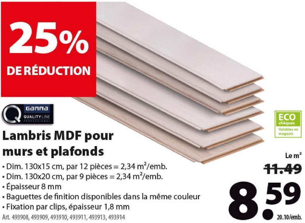 Lambris en MDF GAMMA Quality Line 8 mm 2,34 m² brut Weath White Le lambris Quality Line de GAMMA est un panneau pour paroi ou plafond en MDF au rapport qualité/prix exceptionnel. Épais de 8 mm, ce panneau se fixe rapidement avec des agrafes. Disponible en plusieurs dimensions et couleurs, dont ce modèle Weath White. Bon à savoir: il existe des moulures dans le même matériau et la même couleur pour une finition impeccable. Quid des agrafes pour monter ces panneaux? Celles-ci ont une largeur de 1,8 mm et sont également disponibles sur le webshop de GAMMA, sous le numéro d'article 516424.