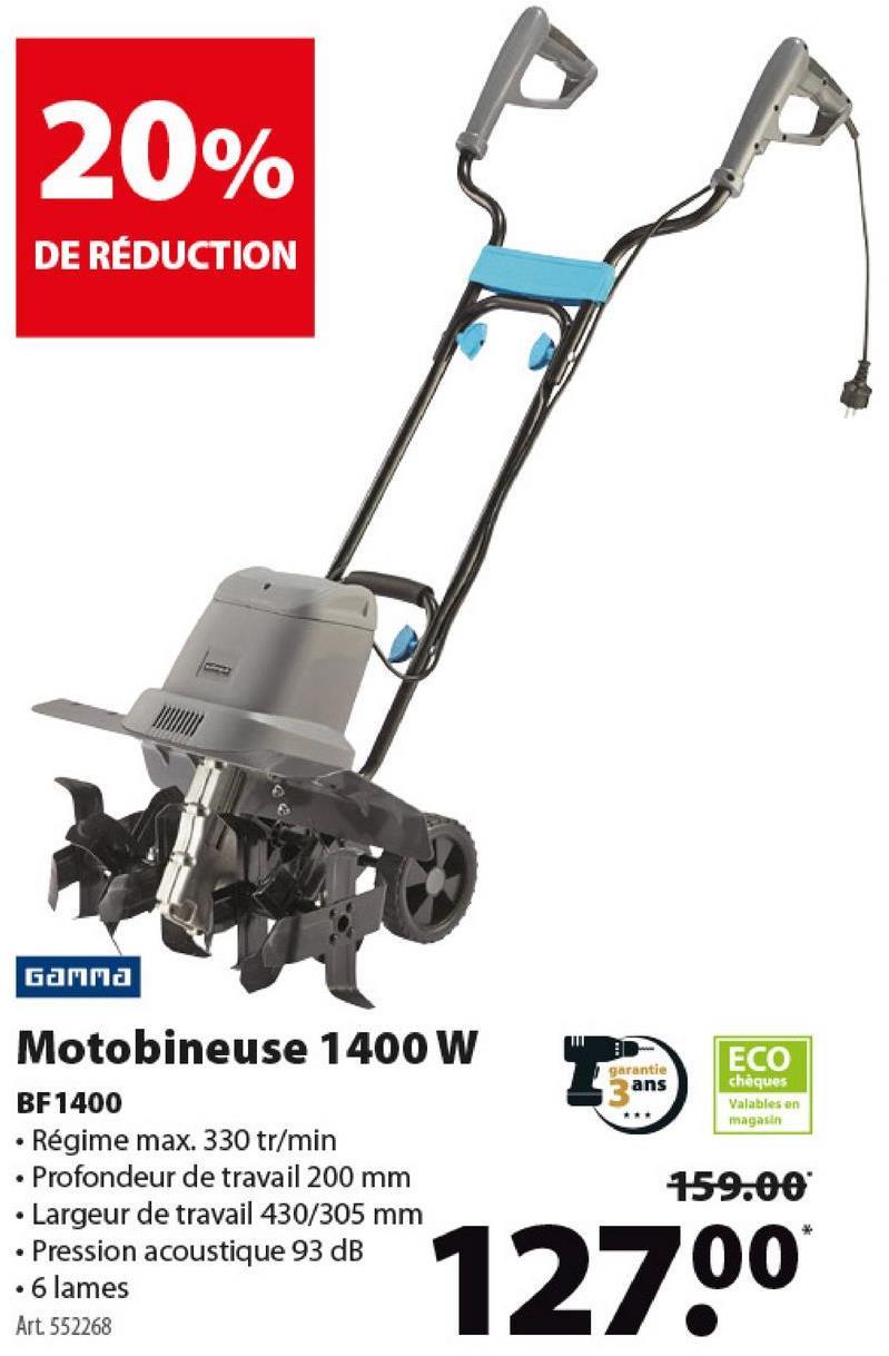 Motobineuse Gamma BF1400 1400 W La motobineuse BF1400 vous ameublit le sol jusqu'à une profondeur de 20 cm en un rien de temps grâce à son moteur puissant de 1400 watts. La motobineuse a une largeur de travail de 43 cm répartit sur 6 lames. Les poignées sont rabattables pour permettre un rangement compact.