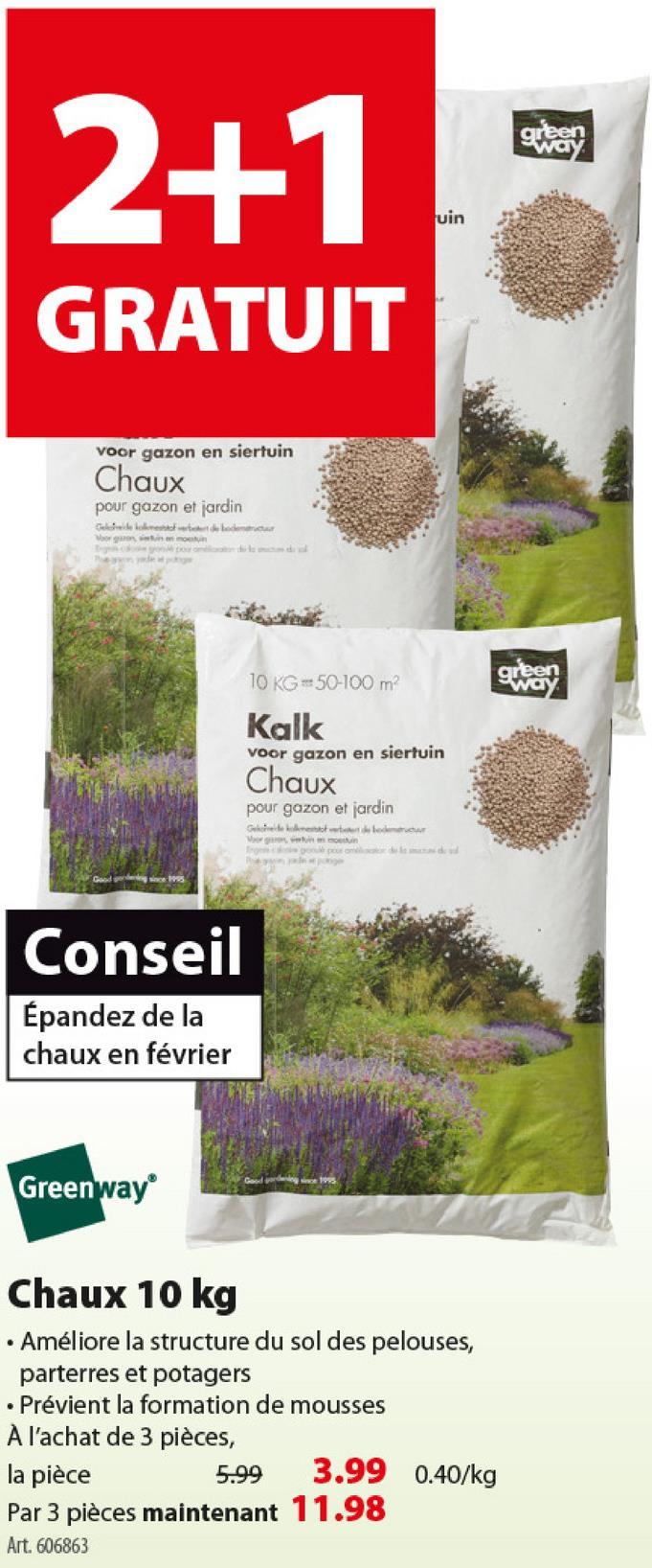 Chaux pour le jardin Greenway 10 kg -