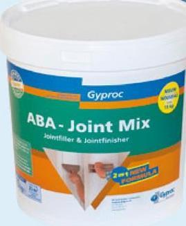 ABA-joint mix Gyproc pâte de jointoiement 15 kg Jointoyez vos ouvrages sur Gyproc avec cet ABA-Joint Mix. C'est un enduit de jointoyage prêt à l'emploi qui peut servir de couche de remplissage et de finition pour les plaques Gyprox WR disposant de côtés ABA. Un système de jointoyage standard pour ceux qui sont moins habitués de travailler sur des plaques Gyproc mais recherchent une finition de qualité.
