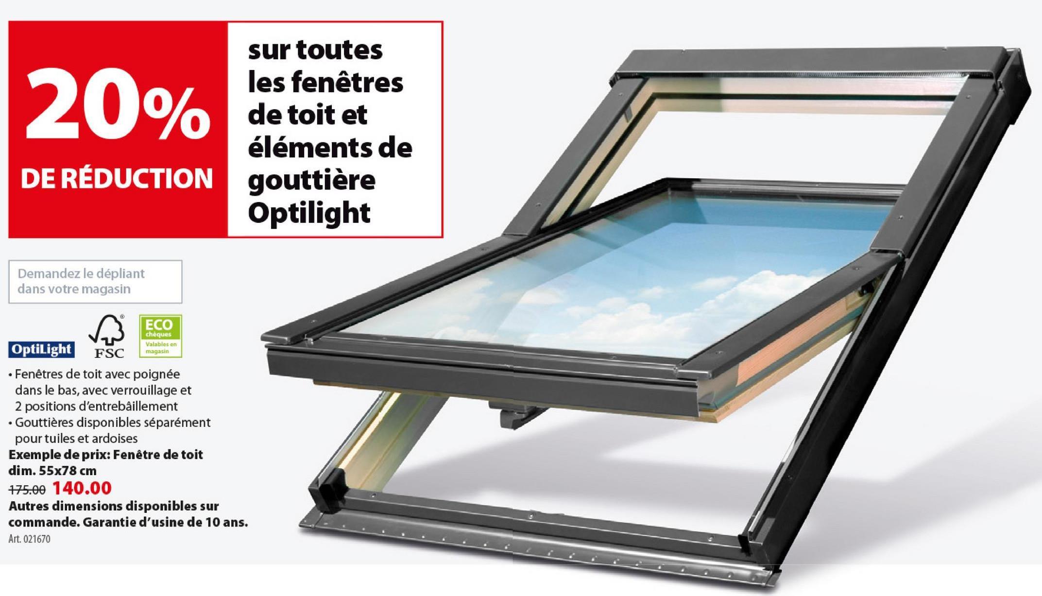 Fenêtre de toit Optilight 78x98 cm À la recherche d'une fenêtre de toit qui laisse pénétrer un maximum de lumière et qui soit aussi très facile à installer vous-même ? Optez pour ce grand modèle rectangulaire Optilight de 78 sur 98 cm, à combiner avec un kit d'écoulement. Fabriqué en bois solide, finition en aluminium noir et verre. Également disponible en d'autres dimensions et finitions.