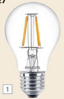Ampoule poire LED à filaments Philips E27 470 Lm 4W = 40W Ceux qui aiment les ampoules poires classiques vont adorer cette ampoule poire LED en verre clair à filaments Philips au look identique mais à la consommation réduite. Cette ampoule diffuse une lumière chaleureuse de 470 Lm dont la luminosité est comparable à celle d'une ampoule à incandescence de 40W, avec une consommation de 4,3W.