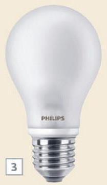 Ampoule poire LED Philips E27 806 Lm 7W = 60W 2 pièces Ceux qui aiment les ampoules poires classiques vont adorer cette ampoule poire LED en verre mat Philips au look identique mais à la consommation réduite. Cette ampoule diffuse une lumière chaleureuse de 806 Lm dont la luminosité est comparable à celle d'une ampoule à incandescence de 60 W, avec une consommation de 7 W. En emballage de 2 pièces.
