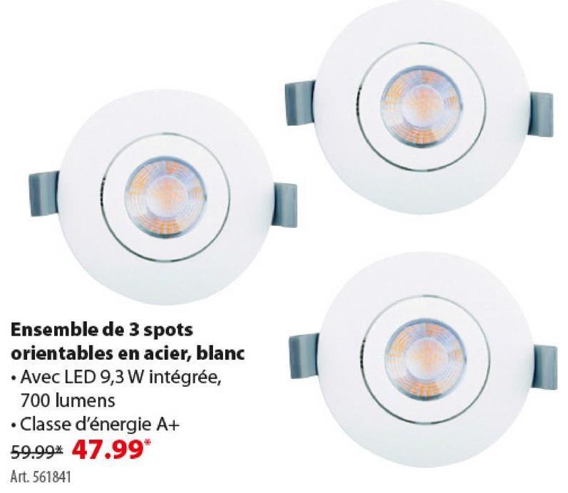 Spots encastrables GAMMA LED intégrées 9,3 W 700 lumens blanc 3 pièces -