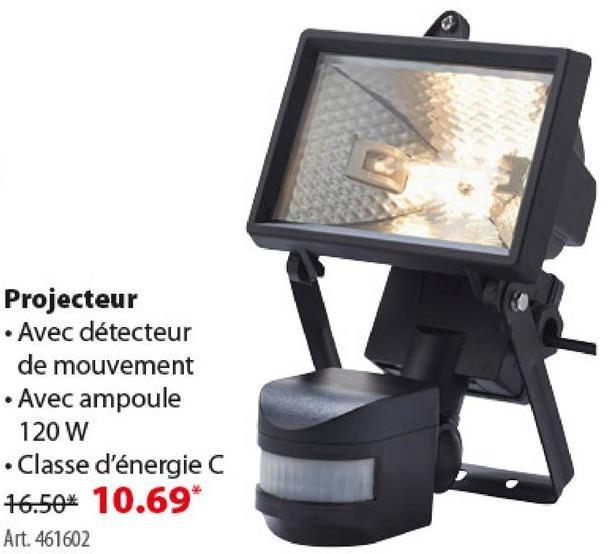 Projecteur avec détecteur de mouvement GAMMA ampoule halogène 120W Illuminez votre maison et votre jardin avec un éclairage extérieur abordable et de qualité de GAMMA. Choisissez parmi des appliques ou des luminaires à poser. Le projecteur GAMMA avec ampoule écohalogène de 120 W est multifonctions, écologique et dispose d'un capteur de mouvement qui le rend encore plus écologique.