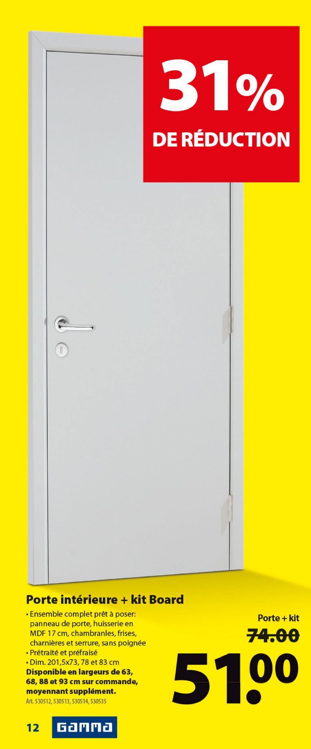 Porte intérieure board CanDo panneau de porte 201,5x73 cm blanc -