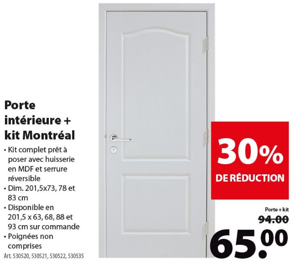 Porte intérieure Montréal CanDo panneau de porte 201,5x73 cm blanc -