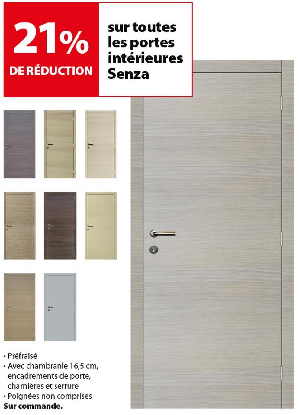 Panneau de porte intérieure Senza stratifié horizontal 201,5x63 cm chê -
