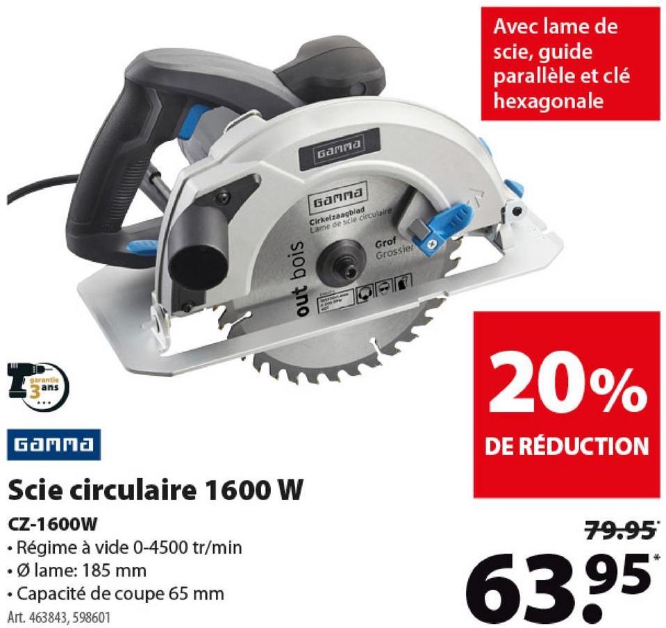 Scie circulaire GAMMA CZ-1600W -