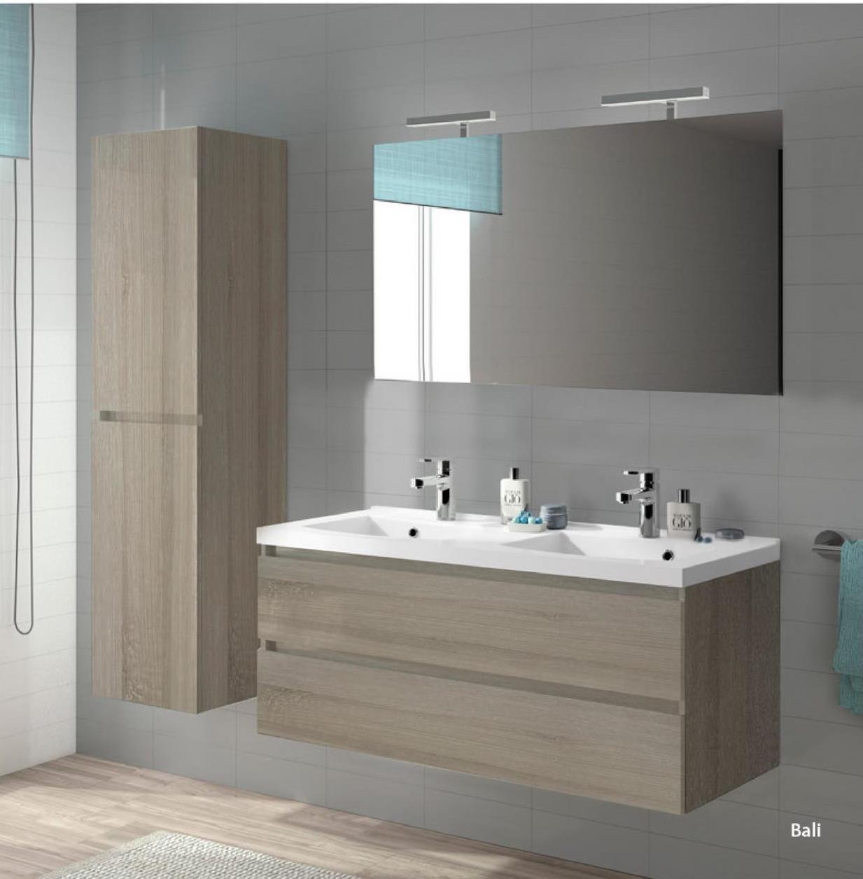 Armoire sous-lavabo Bali 2 tiroirs 2 trous pour siphon 120 cm es molin -