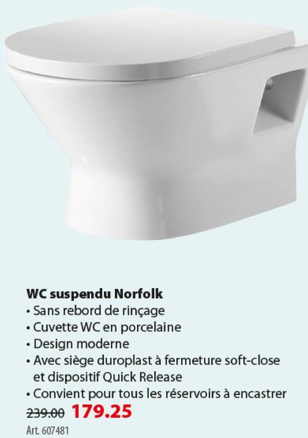 Wc suspendu sans rebord Norfolk Atlantic avec siège WC -