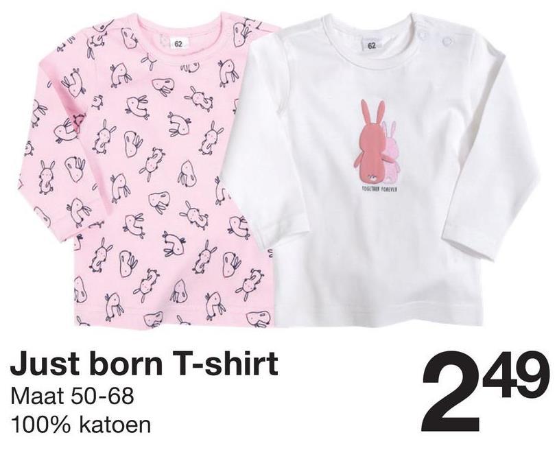 Mine a los de Just born T-shirt Maat 50-68 100% katoen 249