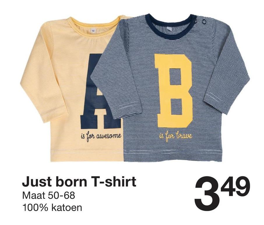 WWW vesome Just born T-shirt Maat 50-68 100% katoen 349