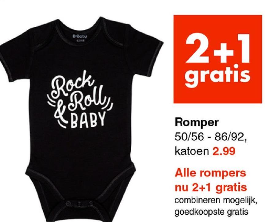 Baby 2+1 gratis Romper 50/56 - 86/92, katoen 2.99 Alle rompers nu 2+1 gratis combineren mogelijk, goedkoopste gratis