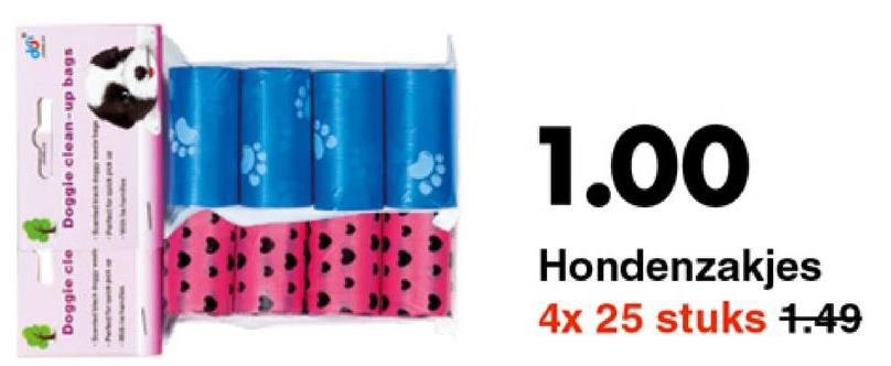 Doggle cle Doggie clean-up bags 1.00 Hondenzakjes 4x 25 stuks 1.49