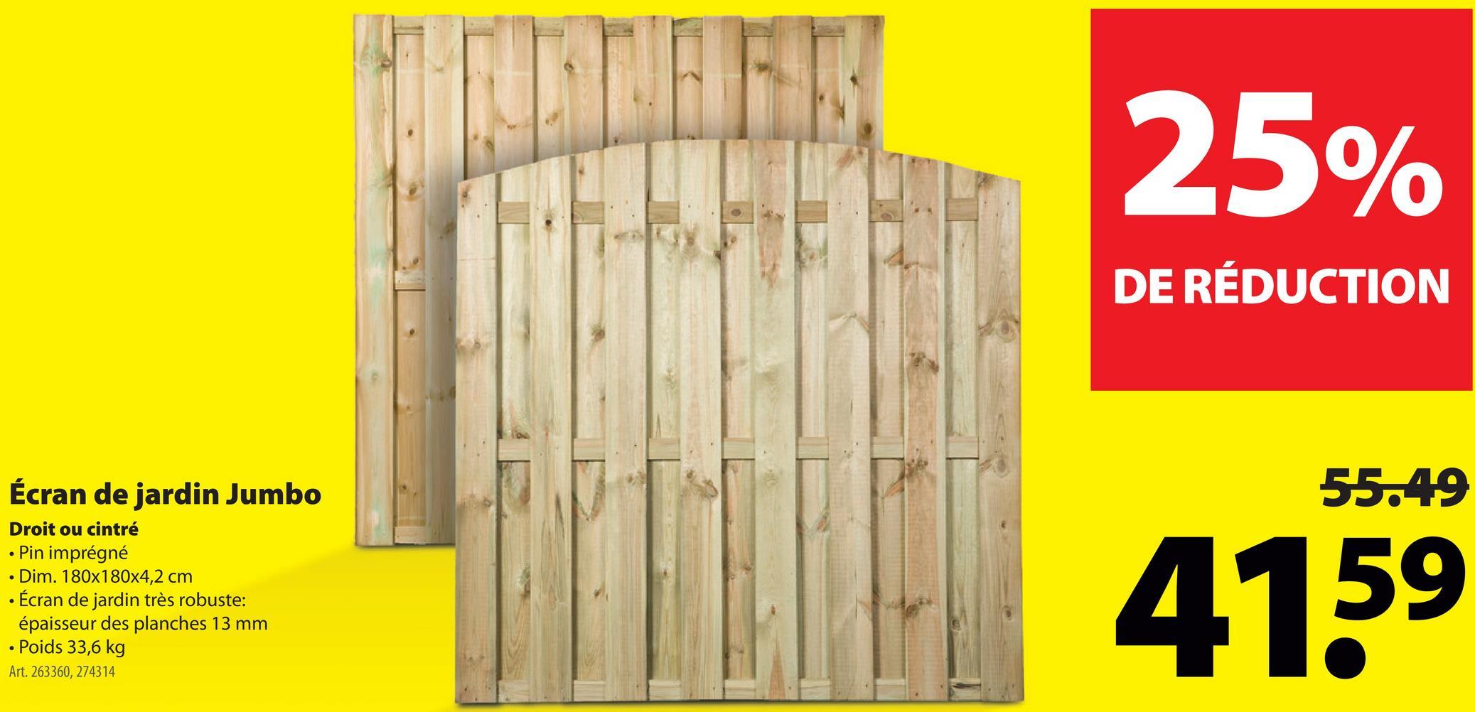 Écran de jardin Jumbo arqué 180x180 cm Un écran de jardin haut préserve votre intimité. L'écran de jardin Jumbo est fabriqué en pin imprégné, ce qui confère un caractère chaleureux à votre clôture. [180 cm de large sur [180 cm de haut, avec une partie supérieure droite. À combiner avec une porte de jardin Exclusive.