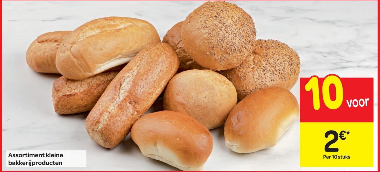 voor Assortiment kleine bakkerijproducten Per 10 stuks