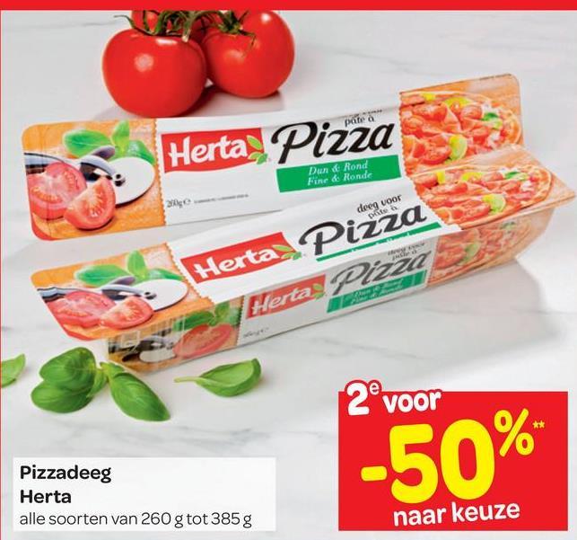 prite Herta Pizza Dund Rond Fine & Ronde Herta Pizza Herta Pizza 2° voor -50% Pizzadeeg Herta alle soorten van 260 g tot 385 g naar keuze
