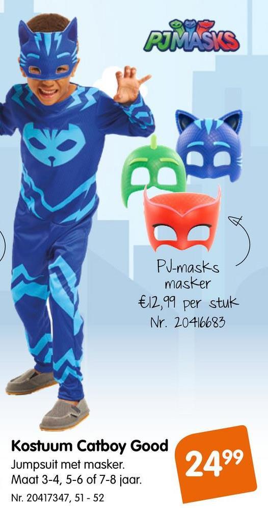 Kostuum PJ Masks Catboy Good 2-3 Jaar Kostuum PJ Masks Catboy Good 2-3 Jaar