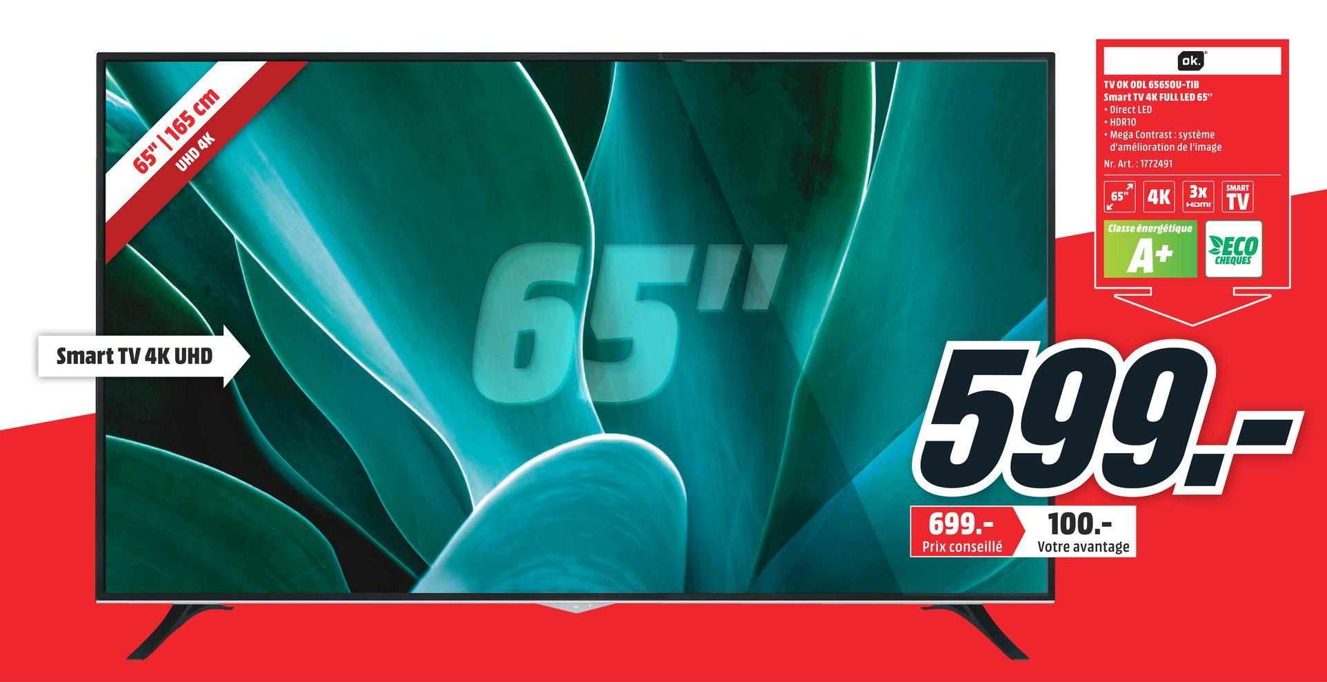 TV OK ODL 65650U-TIB 65'' FULL LED Smart 4K TV OK ODL 65650U-TIB 65'' FULL LED Smart 4K