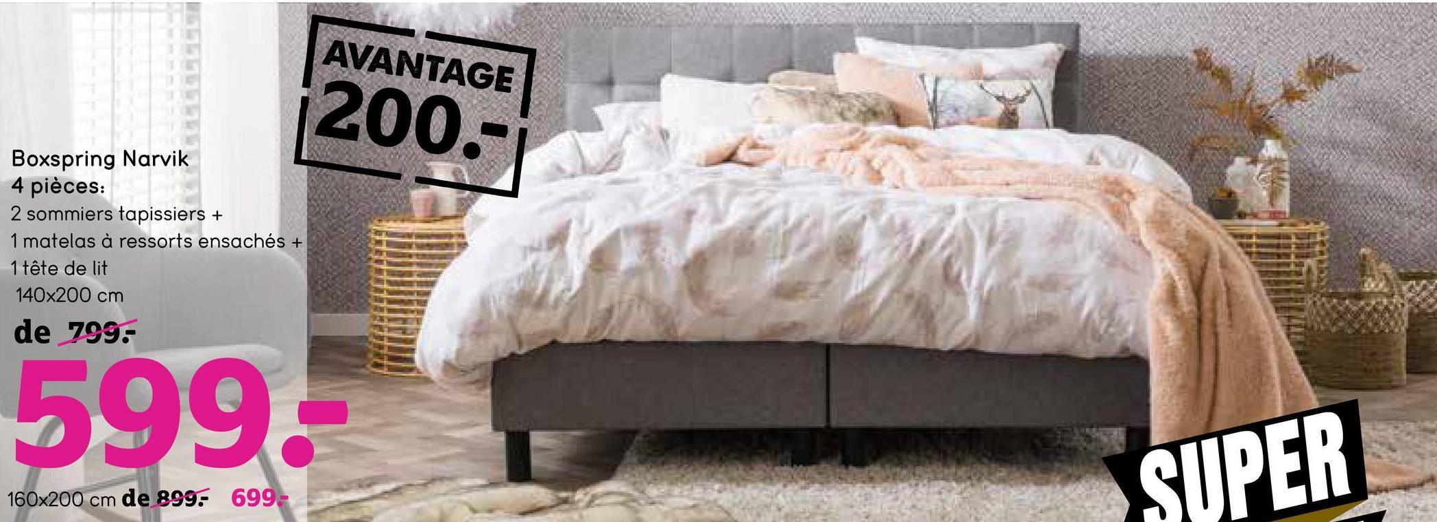 Boxspring Narvik - gris - 160x200 cm - Leen Bakker Le boxspring Narvik est un lit confortable au look élégant. Ce lit consiste dans 2 sommiers avec chacun des dimensions de 80x200 cm, 1 matelas à ressorts ensachés de 160x200 cm et une tête de lit. Bref, un lit complet.