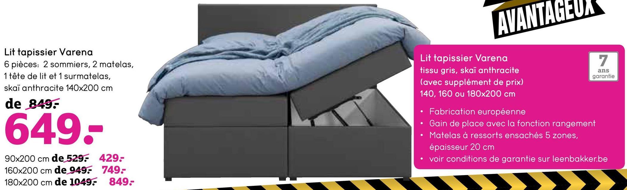Lit tapissier Varena - gris - 180x200 cm - Leen Bakker Le lit tapissier Varena est un lit confortable avec fonction de rangement. Le lit box de 180x200 cm est revêtu du tissu gris Sawana.
