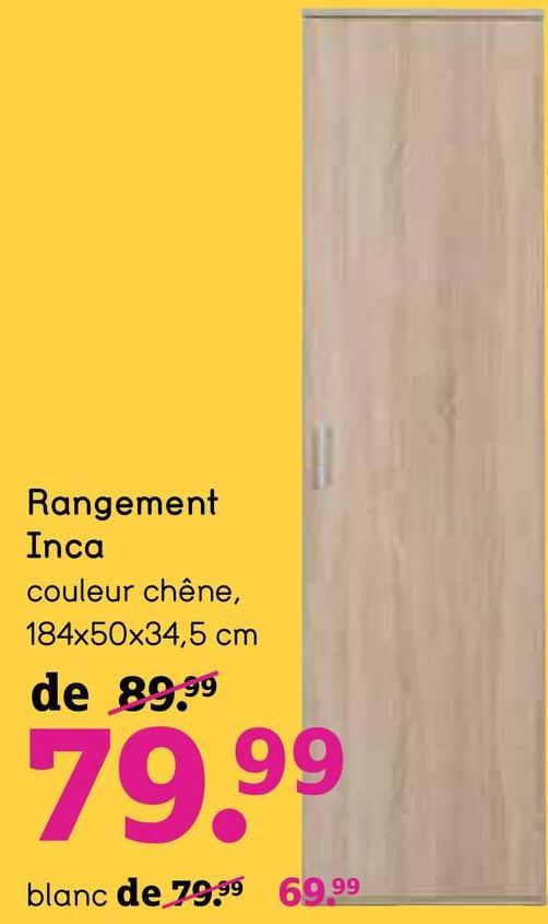 Rangement Inca 1 porte - blanc - 184x50x34,5 cm - Leen Bakker Le rangement Inca 1 porte est un rangement pratique et compact avec beaucoup d'espace. Le rangement en couleur blanc contient des planches.