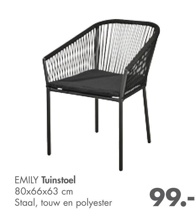 EMILY Tuinstoel 80x66x63 cm Staal, touw en polyester 99.-