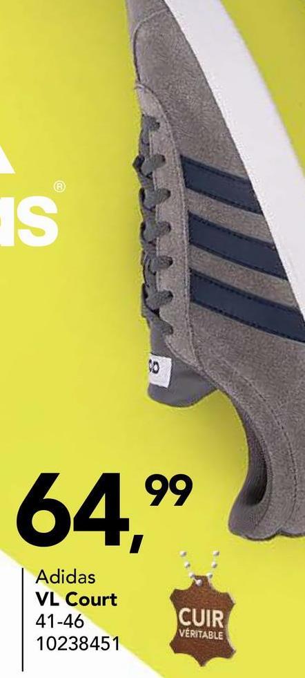 Chaussure de sport Adidas Chaussure de sport à lacets de Adidas (VL COURT F99260). Cette chaussure de sport pour hommes est pourvue des trois barres typiques.