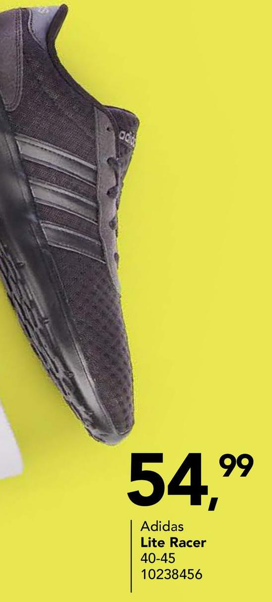 Chaussure de sport Adidas Chaussure de sport Lite Racer en noir à semelle blanche et imprimé saillant pour femmes de la marque connue Adidas.
